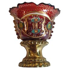 Bohemian Art Glass MASTER SALT, Bronze Base, Beaded, c. 1880's