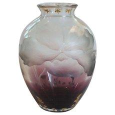 Moser INTAGLIO Cut Art Glass Vase, Amethyst to Clear