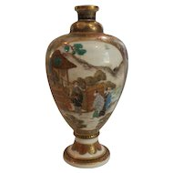 "19th C. Japanese Satsuma Miniature 5"" Vase, MEIJI Period, Pictorial Scenes"