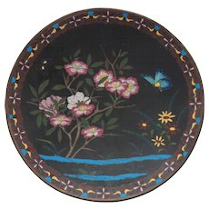 """Japanese CLOISONNE  9.75"""" Plate / Charger, Butterfly & Flowers"""