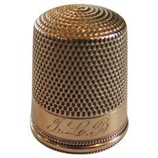 Estate 14 K Solid Gold Thimble, Simmons, Monogram