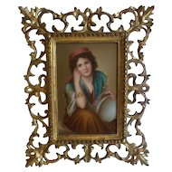 19th C. Painting on Porcelain Gypsy Girl, Ornate Gilt Wood Frame