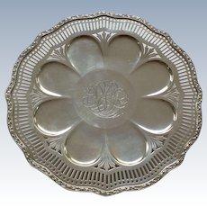 Unusual WALLACE Sterling Silver Pierced Dessert Tray / Platter, C 1384