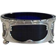 English Sterling Silver Master SALT CELLAR Dish, Cobalt Glass Liner