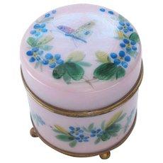 French Enameled Glass Dresser Trinket / Powder Box, c. 1880 (#1)