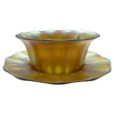 Steuben Carder Gold AURENE Art Glass Finger Bowl & Plate