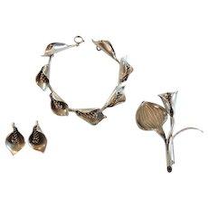 Anton Michelsen Jewelry Suite, Gertrude Engel Rougie Sterling Silver