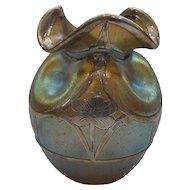 Loetz CANDIA SILBERIRIS Art Nouveau Petite Vase, Sterling Silver Overlay, c. 1900