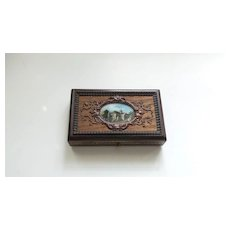 French Eglomise Souvenir Box, Embroidery Sewing Tools Etui