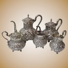 A. G. Schultz Baltimore REPOUSSE Sterling Silver 5-Piece Coffee / Tea Set