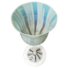 "L C Tiffany Favrile Aqua PASTEL Opalescent Art Glass 8.5"" Wine Goblet"