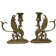 French Gilt Bronze Mythical GRIFFIN Candle Holder Pair