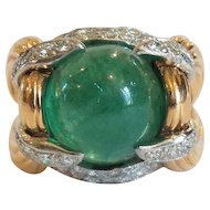 18 K Gold Emerald & Diamond Ring, Actress THELMA PARR Estate