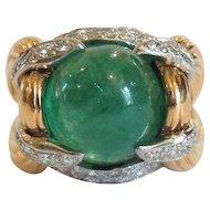 18 K Gold Emerald & Diamond Ring, Actress THELMA PARR Estate