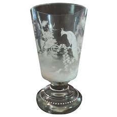 Bohemian Czech Glass BEAKER / TUMBLER, Enameled & Jeweled
