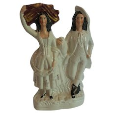 "19th C. Staffordshire Pottery 12.25"" Couple Figurine"