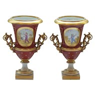 Pair 19th C. French Porcelain Gilt Decorated Vases, Boys at Play