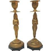Dore Bronze EGYPTIAN REVIVAL Candlestick Pair