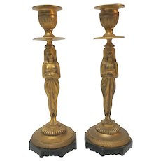 Dore Bronze EGYPTIAN REVIVAL Candlestick Pair