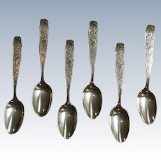 Set/6 Towle ORCHIDS Sterling Silver Teaspoons