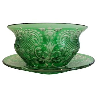 American Engraved Green Rock Crystal Finger Bowl & Plate, c. 1900