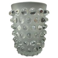 """LALIQUE Clear & Frosted Crystal MOSSI 8.25"""" Vase"""