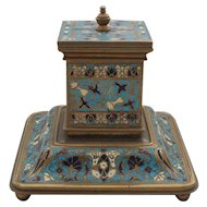 19th C. Antique French Champleve & Bronze Inkwell / Ink Stand