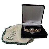 Vintage Ladies ROLEX 14 K Watch, RARE Diamond & Emerald Bezel