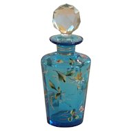 Signed MOSER Enameled Art Glass Perfume Bottle, c. 1885