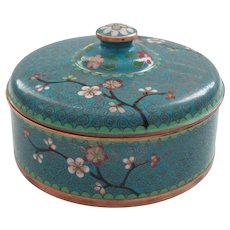 """Antique Chinese CLOISONNE on Copper 4.75"""" Lidded Box"""