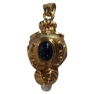 14 Karat Gold Charm, Pendant, Watch Fob, Cabochon Sapphires & Pearl