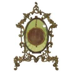 19th C. PALAIS ROYAL Pocket Watch Stand Holder, Green Glass