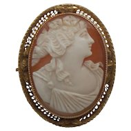 SHELL Cameo Brooch / Pendant, 14 Karat Yellow Gold Mounting, c. 1910