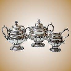 New York COIN Silver 3-Piece Tea Set, c. 1802-1829