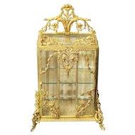 RARE 19th C. Gilt Ormolu Decorated Miniature French Vitrine Salesman's Sample / Display Cabinet