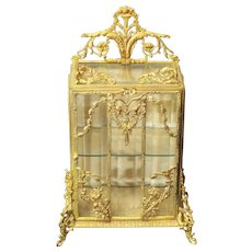 RARE 19th C. Gilt Ormolu Decorated Miniature French Vitrine Salesman's Sample / Display Cabinet