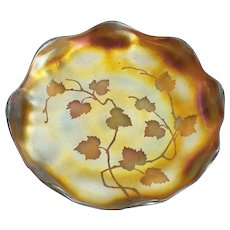 LCT Tiffany Gold FAVRILE Art Glass Engraved Dish / Bowl, c. 1900