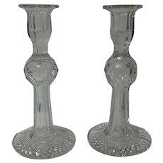 "Pair American Brilliant Period Cut Glass 10"" Candlesticks, c. 1900"