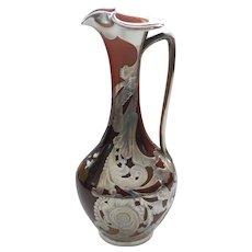 ROOKWOOD Art Pottery Ewer, Gorham Silver Overlay