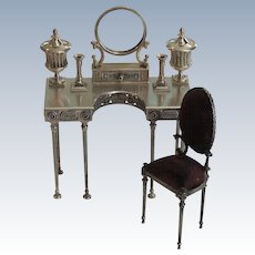 Rare 7-Piece Sterling Silver Vladimir Matusovsky Empress Maria Miniature Vanity Table Set