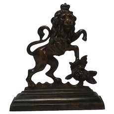 Bronze ARMORIAL Lion Sculpture Single Bookend