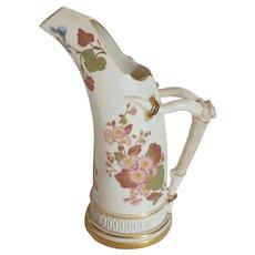 """Royal Worcester Porcelain 11.5"""" Ewer, Antler Handle, c. 1889"""