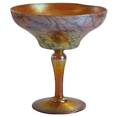 "QUEZAL Art Glass 6.5"" KING TUT Iridescent Compote, c. 1910, Signed"