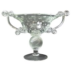 Stunning Art Glass Compote Centerpiece, Controlled Bubbles