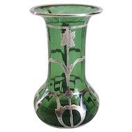 Art Nouveau Sterling Silver Overlay Vase, Art Glass, Tadpoles