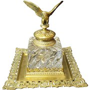 Huge 19th C. French Empire DORE BRONZE Inkstand, BACCARAT Inkwell, Eagle Top