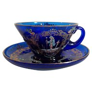 19th C. MOSER Art Glass Gilt Enamel Demitasse Cup & Saucer, c. 1885-1900