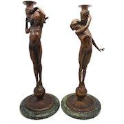 MCCARTAN American Bronze Pair Candlesticks 'Boy and Girl' Figures