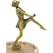 BRUNO ZACH 'Girl' Gilt Bronze Art Deco Figure