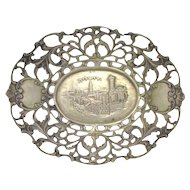 19c Judaica Continental Silver Dish w/ View of Jerusalem